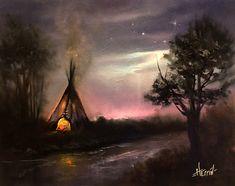 "Native American Oil Painting, Indian Teepee Art, Teepee Painting, Original Landscape, ""Land Of Light"" by Ryan Herrin"