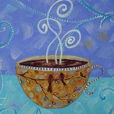 """Morning Bliss for Three"" ~ Acrylic Painting by Dana Marie ~ www.danamarieart.etsy.com"