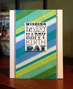 Stripes birthday card created with ink and a striped stamp set.