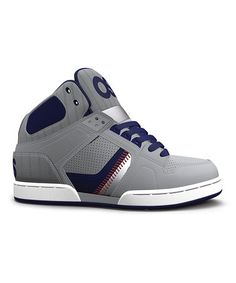 Look at this #zulilyfind! Gray & Navy Stripe NYC 83 Leather High-Top Sneaker - Kids by Osiris Shoes #zulilyfinds