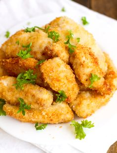 Parmesan Chicken Fingers with Garlic Cheese Sauce