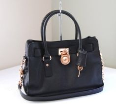 NWT Michael Kors Genuine Leather E/W Hamilton Tote Purse Black Rose Gold:Amazon:Clothing