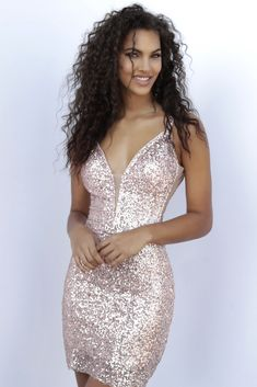 JVN by Jovani JVN63205 Rose Gold Sequin Short Dress