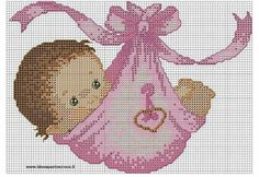 by on deviantART bebita punto de cruz - Baby Girl Cross Stitch Pattern Baby Cross Stitch Patterns, Cross Stitch For Kids, Cross Stitch Baby, Cross Stitch Charts, Cross Stitch Designs, Cross Stitching, Cross Stitch Embroidery, Embroidery Patterns, Crochet Cross