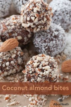 Coconut almond bites - This dessert is best enjoyed as an occasional treat, due to the high saturated fat content. Saturated fats may increase your risk for obesity and heart disease. http://www.allinahealth.org/Health-Conditions-and-Treatments/Eat-healthy/Recipes/Desserts/Coconut-almond-bites/