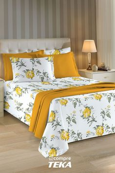 #colchafloral#decoresuacama#compreteka #teka #tecidopiquet Designer Bed Sheets, Luxury Bed Sheets, Home Decor Furniture, Home Decor Bedroom, Living Room Decor, Bed Cover Design, Bed Design, Draps Design, Couch Set