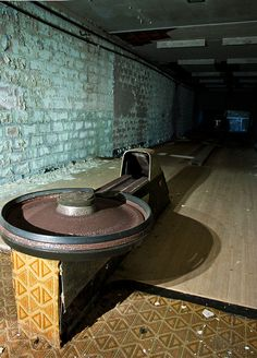 Abandoned bowling alley! I love the circle ball return! This is so cool!