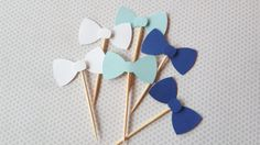 Bow tie cupcake picks Baby shower decorations by TheBoxedFoxShop