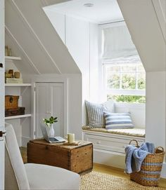 Beach House, Decorating Ideas, Country Living, Attic Rooms, Dormer Windows, Reading Nooks, Bedroom Makeover, Window Seats