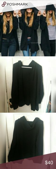 Brandy Melville Black Ayara Cardigan Hooded black knit cardigan from brandy Melville. Had a made in Italy tag! Super cute and in good condition. Has pockets in the front Brandy Melville Sweaters Cardigans