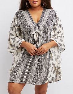 Love!  Plus Size Printed Kaftan Dress