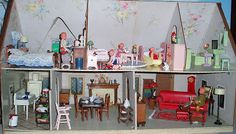 A Tudor Dollhouse by Rich Toys circa 1930's--interior