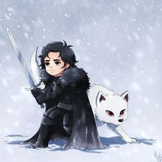 John Snow and his wolf, Ghost