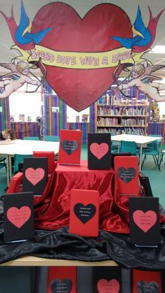 LRC/Library Display for Valentine's Day. Blind date with a book, anyone?