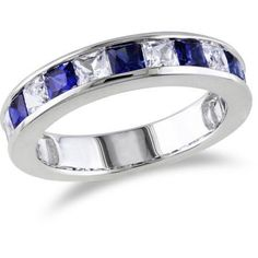 2-3/8 Carat T.G.W. Princess-Cut Created Blue and White Sapphire Sterling Silver Semi-Eternity Ring, Women's, Size: 9