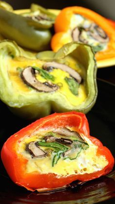 Healthy Spinach, Mushroom, & Egg Stuffed Peppers