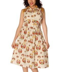 This Retrolicious Cream & Red Owls Button-Front Dress - Plus Too by Retrolicious is perfect! #zulilyfinds