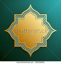 Abstract 3D golden geometric shape with islamic design on dark g