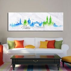Large Wall Art Watercolor Blue and Green Venice Skyline Canvas Print