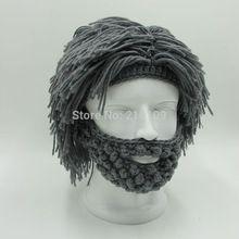 Peluca barba sombreros Hobo Mad Scientist Rasta Caveman hechos a mano Knit Warm Winter tapas de hombre regalo de Halloween mujeres partido divertido gorros(China (Mainland))