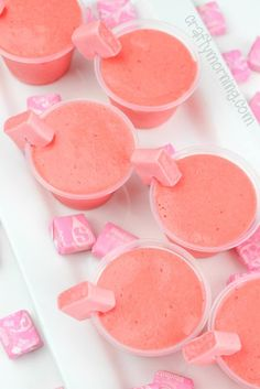 Pink starburst jello shots…so fun to make for a party! Tastes exactly like a s… Pink starburst jello shots…so fun to make for a party! Tastes exactly like a starburst! Best Jello Shots, Jello Pudding Shots, Summer Jello Shots, Strawberry Jello Shots, Tequila Jello Shots, Alcohol Jello Shots, Strawberry Lemonade, Fun Shots, Tipsy Bartender Jello Shots