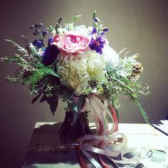 Bouquet by Mya Frey. Love seeded eucalyptus and lisianthus!!!
