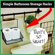 Simple bathroom storage hacks Bathroom Storage Solutions, Small Bathroom Organization, Bathroom Hacks, Diy Bathroom Decor, Simple Bathroom, Organization Ideas, Bathroom Ideas, Bathroom Furniture, Budget Bathroom