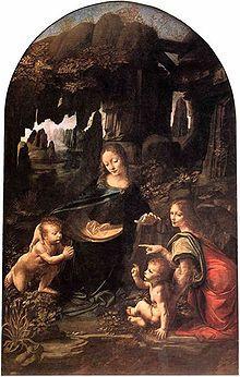 Virgin of the Rocks, Louvre, demonstrates Leonardo's interest in nature
