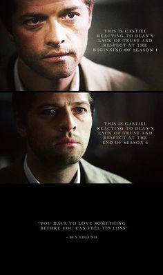 [GIF] 4x02 Are You There, God? It's Me, Dean Winchester, 6x21 Let It Bleed, and Ben Edlund quote