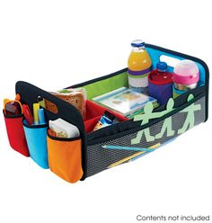 """Backseat Organizer $14.99 Product #543-970 For backseat toys and essentials. This 19"""" D x 7"""" H x 11"""" W caddy secures to middle seatbelt with two loops. Polyester, cardboard, mesh, man-made materials. Imported."""