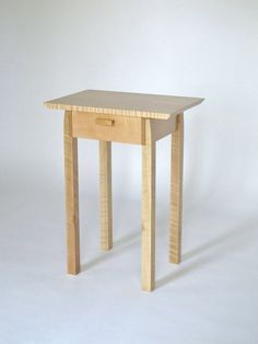 Narrow End Table With Drawer: Tiger Maple Nightstand, Bed Side Table, - Handmade…