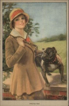 F. Earl Christy Beautiful Woman & Her Bulldog PROTECTED c1915 Postcard FOR SALE • CAD 19.93 • See Photos! Money Back Guarantee. BUY TEN ITEMS AND SHIPPING IS FREE! VINTAGE POSTCARD - CONDITION: VG-EXC *See Scans Below For Detailed Condition of Both Sides. DATE/ERA: 1900s-20s. Standard Size 3.5x5.5. *Please Disregard Any Neon 361735711376