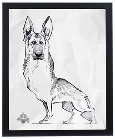 German Shepherd Gesture Sketch Art Print – JohnLaFree.com