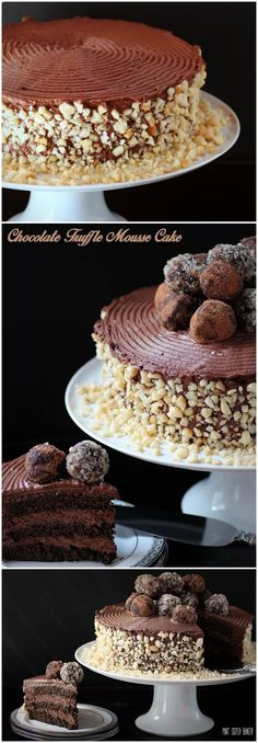 A decadent Chocolate Truffle Mousse Cake that is worthy of a formal party. Three layer cake with truffles and chocolate mousse frosting. Good Cake for everyday Mini Desserts, Just Desserts, Delicious Desserts, Decadent Chocolate, Chocolate Desserts, Chocolate Lovers, Chocolate Mouse, Sweet Recipes, Cake Recipes