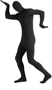 Adult 2nd Skin Black Body Suit, 2nd Skin Costume