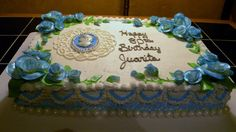 Cameo Birthday cake. 1/2 sheet frosted in buttercream with fondant roses.  Cameo made from chocolate.