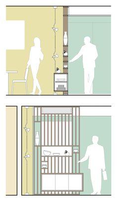 Mobile ingresso: un arredo su misura Living Room Partition Design, Room Partition Designs, Interior Design Renderings, Interior Design Guide, Detail Architecture, Interior Architecture, Minimalis House Design, Autocad, Architectural Section