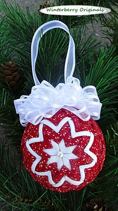 Quilted Ornament 2.5 inch Tiny White by WinterberryOriginals