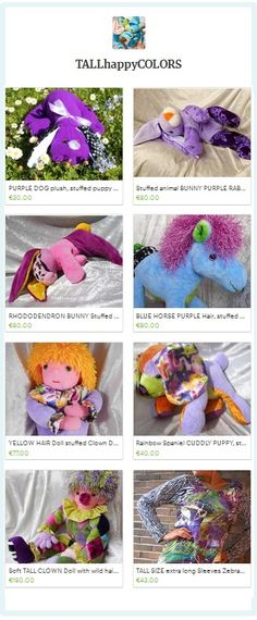 PURPLE Handmade Gift finds - purple soft toy bunnies, purple horses, purple soft dolls, purple puppies, purple rainbow clown, purple Tall Women Clothing Shirt Handmade with LOVE by TALLhappyCOLORS