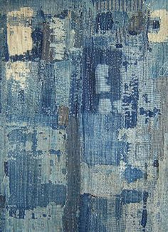 "A ""boro"" is a futon cover. Rag rugs are another way of recycling textiles. un ""boro"" au Japon est u. Shibori, Textile Design, Textile Art, Inspiration Wand, Boro Stitching, Denim Art, Japanese Textiles, Fabric Manipulation, Wabi Sabi"