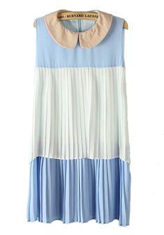 Multicolor Patchwork Double-deck Falbala Lapel Chiffon Dress