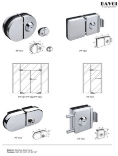 Wade-Stainless steel glass door lock manufacturer[PF101,102,103,104] Glass Door Lock, Lock Set, Door Hinges, Door Locks, Shower Doors, Hardware, Stainless Steel, Interior, Gate Locks