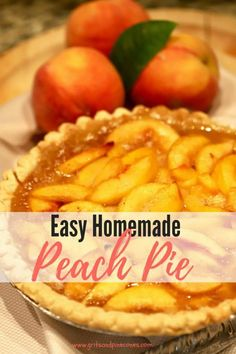 Southern-Style Easy Fresh Peach Pie is full of sun-ripened fresh peach filling baked to perfection. I'll show you how easy it is to make this homemade fresh peach pie recipe! And, how this one-crust peach pie recipe is one you will want to make time and t Easy Peach Pie, Peach Pie Filling, Peach Pies, Fresh Peach Recipes, Fresh Peach Pie, Tart Recipes, Cooking Recipes, Keto Recipes, Köstliche Desserts