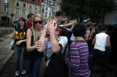 "poznan, 29.08.2012, squatters are defendind squat ""Warsztat"""
