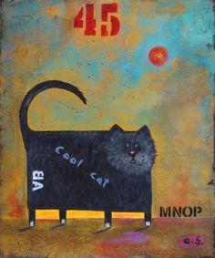 "Saatchi Art Artist a t i sedgwick; Painting, ""Cool Cat"" #art"