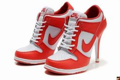 Nike Dunk High Heels Red/White