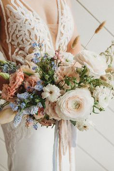 Blue Wedding Flowers Lace and Crepe Wedding Dress with a Dusty Blue and Blush Bouquet - Creative Wedding Styling and Event Design Bridal Bouquet Blue, Blush Bouquet, Blush Bridal, Bridal Flowers, Flower Bouquets, Hyacinth Wedding Bouquet, Blush Wedding Bouquets, Ranuculus Bouquet, Hand Bouquet Wedding