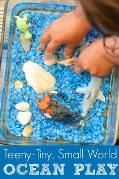 """Small World Ocean Play - Even the tiniest """"small world"""" will keep a child entertained, exploring and learning for ages.  3 of my hooligans gathered around this small baking dish, and played """"deep sea diver"""" for the better part of an hour. - Happy Hooligans"""
