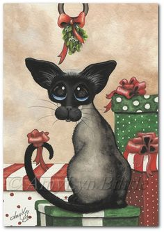 Siamese Cat Mistletoe Art Prints & ACEOs by Bihrle by AmyLynBihrle