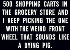 ..and always the one at WalMart that has the wheel that will not even move or that wants to s